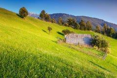Typisch landelijk landschap dichtbij Zemelen, Transsylvanië, Roemenië, Europa Stock Foto's