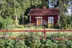 Typisch rood de zomerhuis in Zweden. Royalty-vrije Stock Foto