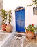 Typische ägäische Inseln Hausfassade Griechenlands, stockfotografie