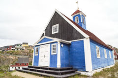 Typische alte Greenlandic Kirche lizenzfreies stockbild