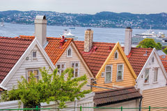 Typische alte Häuser in Bergen UNESCO-Welterbestätte, Norwegen Stockfotos