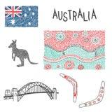 typische Australische symbolen met inheems patroon Royalty-vrije Stock Afbeelding