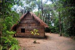 Typische Behausung der gebürtigen Amazonas-Leute Stockbild
