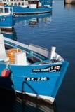 Typische blaue Fischerboote in Seahouses-Hafen Stockfotografie