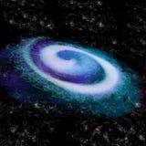 Typische blauwe spiraalvormige melkweg in het heelal vector illustratie