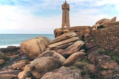 Typische Bretagne-Küste im Norden von Frankreich Stockfotografie