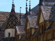 Typische Dächer bedeckt mit den lackierten und Farbfliesen von Burgunder Lizenzfreie Stockbilder