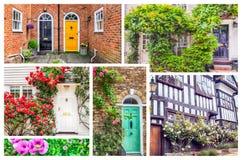 Typische Engelse deuren en vensters Stock Foto