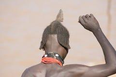 Typische Frisur von Männern der ethnischen Hamer-Bannagruppe, Äthiopien Lizenzfreie Stockfotos