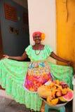Typische fruitverkoper. Cartagena DE Indias Stock Foto's