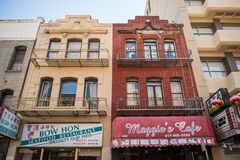 Typische gebouwen in Chinatown in San Francisco, Californië, de V.S. royalty-vrije stock foto's
