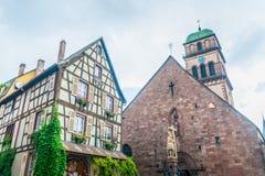 Typische gebouwen in de Elzas Stock Afbeelding