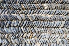 Typische Georgische steenmuur, gestapelde zigzag Stock Foto