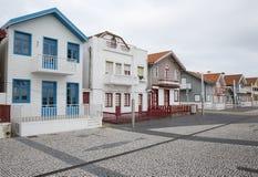 Typische Häuser von Costa Nova, Aveiro, Portugal Lizenzfreie Stockfotos