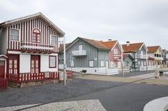Typische Häuser von Costa Nova, Aveiro, Portugal Lizenzfreie Stockbilder