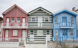 Typische Häuser von Costa Nova, Aveiro, Portugal Stockbild