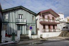 Typische Häuser von Costa Nova, Aveiro, Portugal stockfoto
