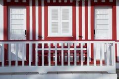 Typische Häuser von Costa Nova, Aveiro, Portugal Stockfotos