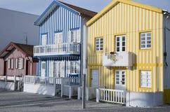 Typische Häuser von Costa Nova, Aveiro, Portugal lizenzfreies stockbild