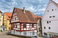Typische helft-betimmerde huizen in Sigmaringen - Baden Wurttemberg, Duitsland stock afbeelding