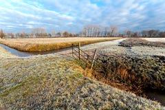 Typische holländische Winterlandschaft stockfotos