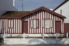 Typische huizen van Costa Nova, Aveiro, Portugal Royalty-vrije Stock Afbeeldingen