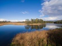 Typische Landschaft in Karelien - blauer Himmel, Wolken, großer See und viele entfernten grünen Inseln, Bäume, Steine und Felsen Stockbild