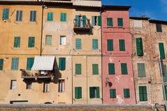 Typische metselwerkgebouwen in Siena royalty-vrije stock afbeelding