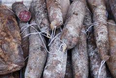 Typische organische salami van het gebied van Marche, Italië Royalty-vrije Stock Afbeeldingen