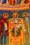 Typische orthodoxe byzantinische Ikonen Heilig-Anna--Rohiakloster, aufgestellt in einem natürlichen und lokalisierten Platz, in M Stockfoto