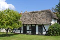 Typische oud bricknogged huis in Denemarken Stock Afbeeldingen