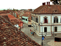 Typische Roemeense architectuur in Sibiu Royalty-vrije Stock Foto