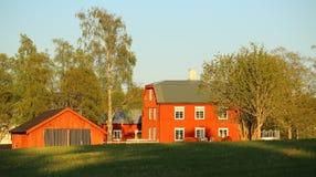 Typische schwedische Häuser in Lungre, aufgelistet als Monumente Stockbilder