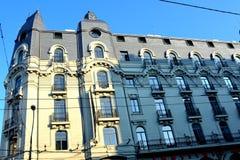 Typische Stadtlandschaft in der Mitte von Bukarest - Bucuresti Stockfotografie