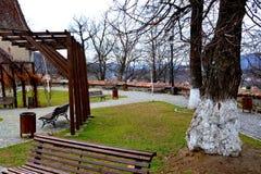 Typische Stadtlandschaft in der mittelalterlichen Festung Sighisoara, Rumänien Lizenzfreies Stockbild