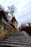 Typische Stadtlandschaft in der mittelalterlichen sächsischen Stadt Sighisoara Lizenzfreies Stockfoto