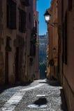Typische Straßen und Gebäude der berühmten Stadt von Cuenca, Spai Lizenzfreie Stockfotografie