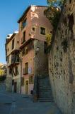 Typische Straßen und Gebäude der berühmten Stadt von Cuenca, Spai lizenzfreies stockbild