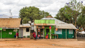 Typische straatscène in Namanga, Kenia Royalty-vrije Stock Foto