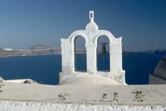 Typische Szene von der griechischen Insel von Santorini Stockfotografie