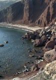 Typische Szene von der griechischen Insel von Santorini Stockfotos