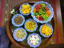 Typische Thaise kuan snoepjes -snoepje-khanom Stock Foto