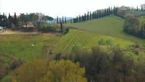 Typische toskanische Landschaft mit den schönen grünen Hügeln 16 stock video footage