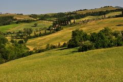 Typische toskanische Landschaft mit grüner Natur Lizenzfreie Stockfotos