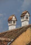 Typische traditionele schoorsteen in transylvanian Sighisoara Royalty-vrije Stock Afbeeldingen