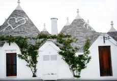 Typische trullihuizen in Alberobello, Italië Stock Foto