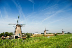 Typische windmolens in Holland Stock Afbeelding