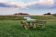 Typischer flacher niederländischer Polder mit seinen Abzugsgräben und Seen Stockfotografie