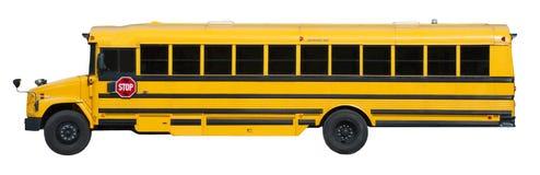 Typischer gelber Schulbus getrennt auf Weiß Stockfoto