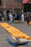 Typischer Käsemarkt in der Stadt von Alkmaar in den Niederlanden Stockfotos